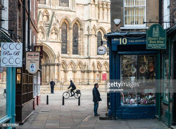 traditional york street scene - york stock photos and pictures