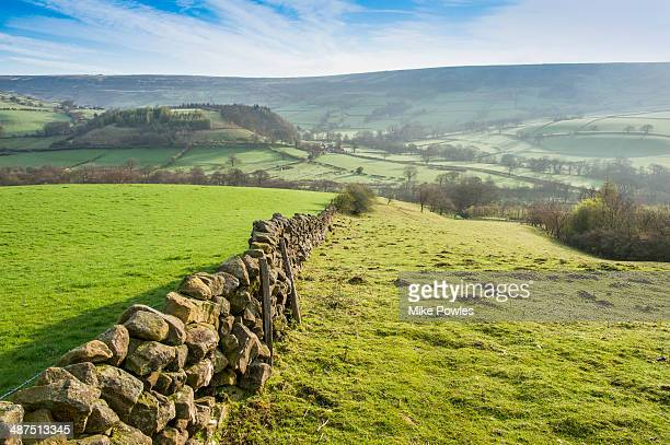 traditional yorkshire stone walls - north yorkshire stock pictures, royalty-free photos & images