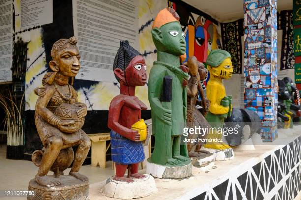 Traditional Yoruba wood carvings at the entrance of the Abeokuta palace