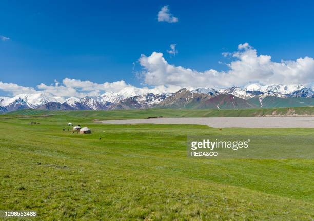 Traditional yurt in the Alaj valley with the Transalai mountains in the background. The Pamir Mountains. Asia. Central Asia. Kyrgyzstan.