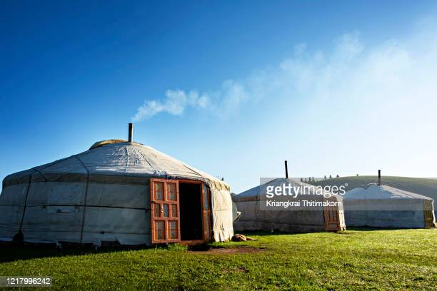 a traditional yurt or ger in mongolia. - yurt stock pictures, royalty-free photos & images