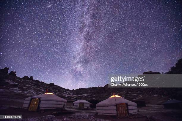 traditional yurts (gers) tent home of mongolian nomads - yurt stock pictures, royalty-free photos & images