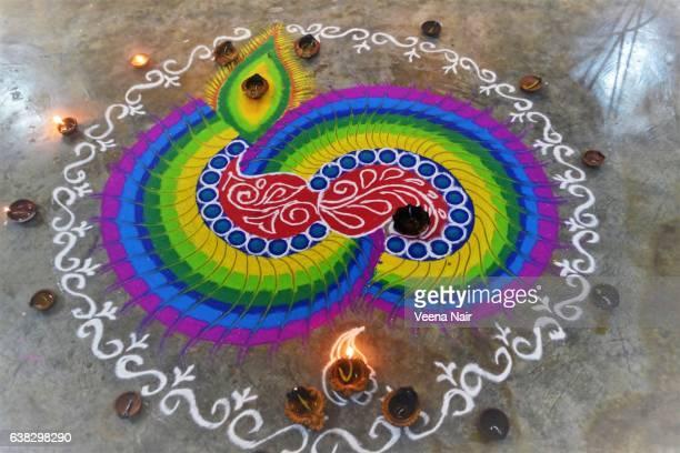 Traditional,colourful Rangoli/Alapana/Kolam taken during Diwali at Ahmedabad