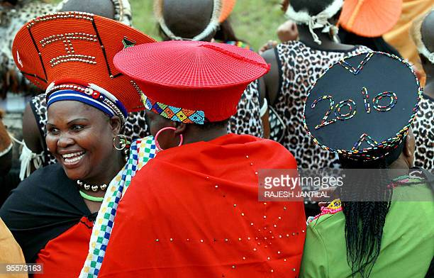 Traditionally clad Zulu women attend the wedding of South African President Jacob Zuma on January 4 at Zuma's rural homestead of Nkandla some 400...
