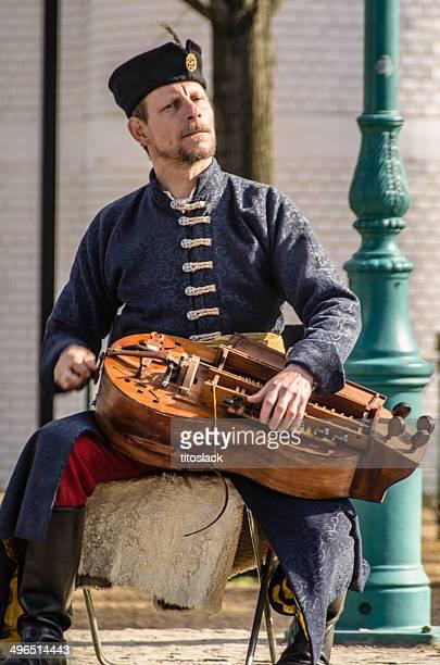 tradicionalmente vestidos húngaro homem tocando o vento-lute - cultura húngara - fotografias e filmes do acervo