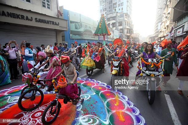 Traditionally dressed Indian people celebrate the Gudi Padwa, Maharashtrian's New Year in Mumbai, India, 08 April 2016. Gudi Padwa is the Hindu...