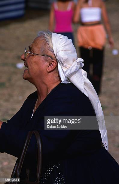 Traditionally dressed Sardinian woman at the S'Ardia festival.
