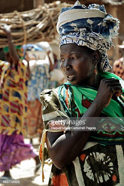 Traditionally dressed woman in the famous Monday market