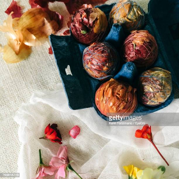 Traditionally Dyed Easter Eggs With Flowers And Onion Skins