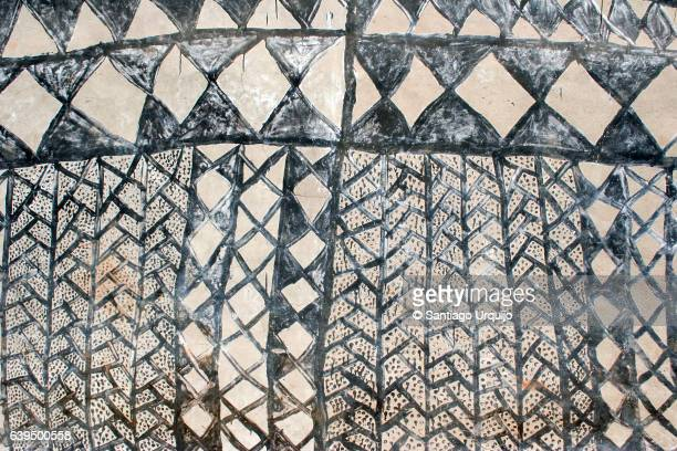 Traditionally pattern on a mud house in Tiebele