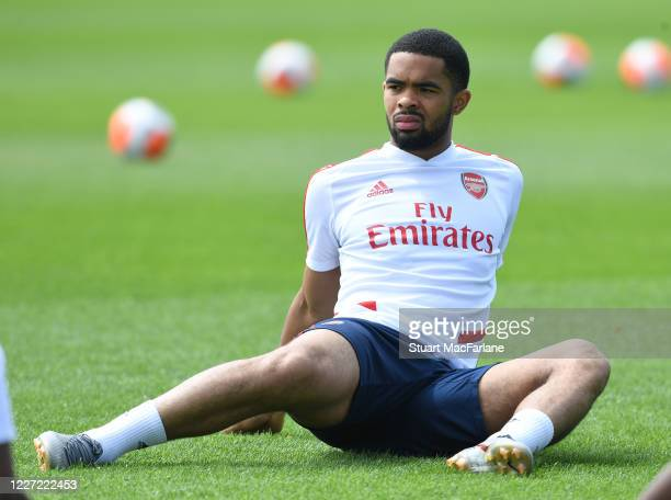 Trae Coyle of Arsenal during a training session at London Colney on May 26 2020 in St Albans England