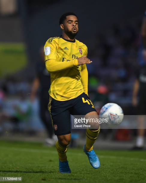 Trae Coyle of Arsenal during the Leasingcom match between Northampton Town and Arsenal U21 at PTS Academy Stadium on August 27 2019 in Northampton...