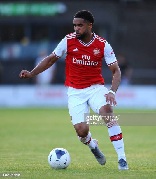 Trae Coyle of Arsenal XI runs with the ball during the PreSeason Friendly match between Barnet and Arsenal XI at The Hive on July 24 2019 in Barnet...