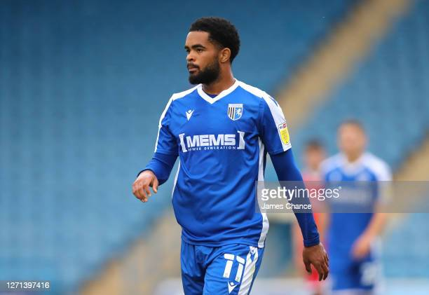 Trae Coyle of Gillingham FC looks on during the EFL Trophy match between Gillingham and Crawley Town at Priestfield Stadium on September 08, 2020 in...