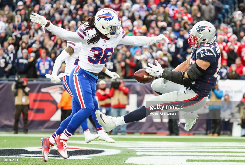 Trae Elston #36 of the Buffalo Bills is called for pass interference as he defends Rob Gronkowski #87 of the New England Patriots during the third quarter of a game at Gillette Stadium on December 24, 2017 in Foxboro, Massachusetts.