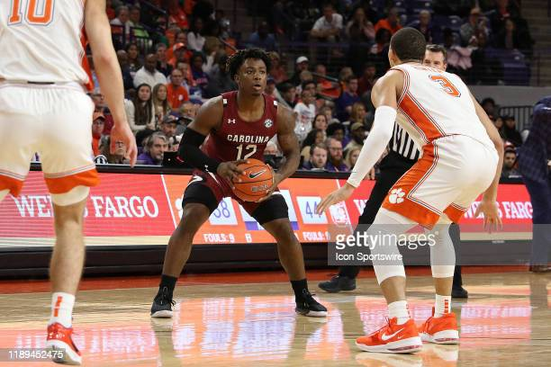 Trae Hannibal guard of South Carolina during a college basketball game between the South Carolina Gamecocks and the Clemson Tigers on December 15 at...