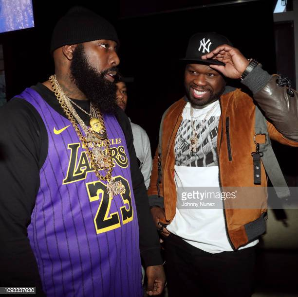Trae tha Truth and 50 Cent attend The Big Game Day Party Hosted by 50 Cent Kevin Hart at Oak on February 2 2019 in Atlanta Georgia