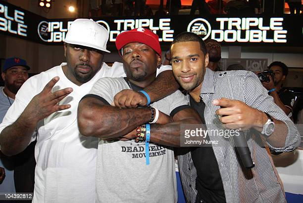 Trae Tha Truth Treach of Naughty By Nature and Mad Linx attend the EA Sports Triple Double event at The Triple Double Space on September 23 2010 in...