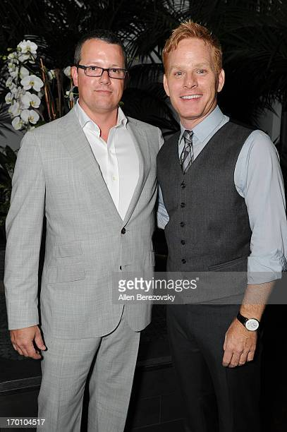 Trae Walker and Kristoffer Winters celebrate with Jeremy Renner the launch of Robb Report Home Style on June 6 2013 in Los Angeles California