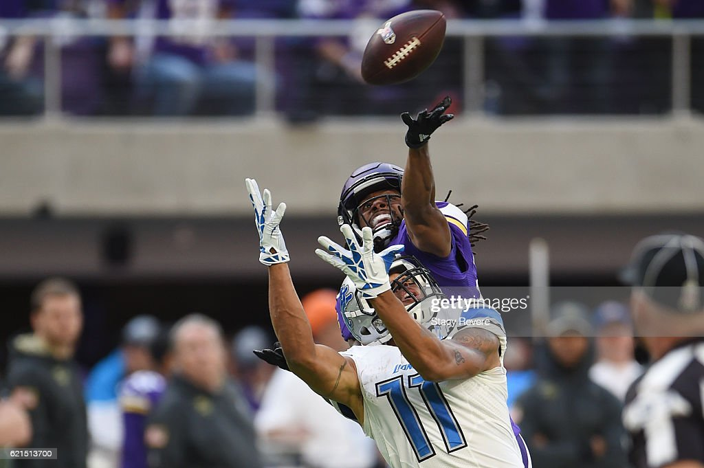 Trae Waynes #26 of the Minnesota Vikings bats the ball away from Marvin Jones #11 of the Detroit Lions during the fourth quarter of the game on November 6, 2016 at US Bank Stadium in Minneapolis, Minnesota.