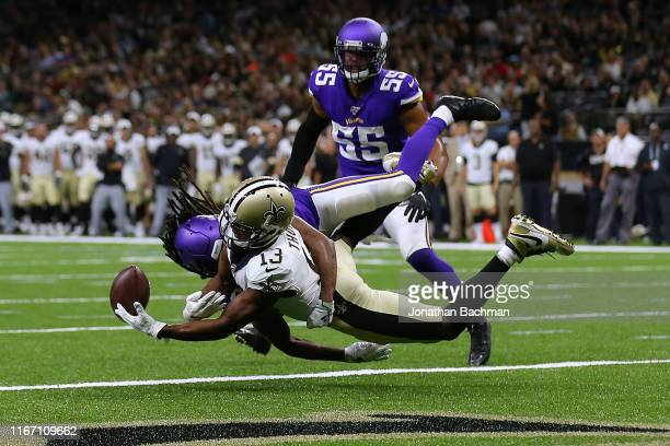Trae Waynes of the Minnesota Vikings breaks up a pass intended for Michael Thomas of the New Orleans Saints during the first half of a preseason game...