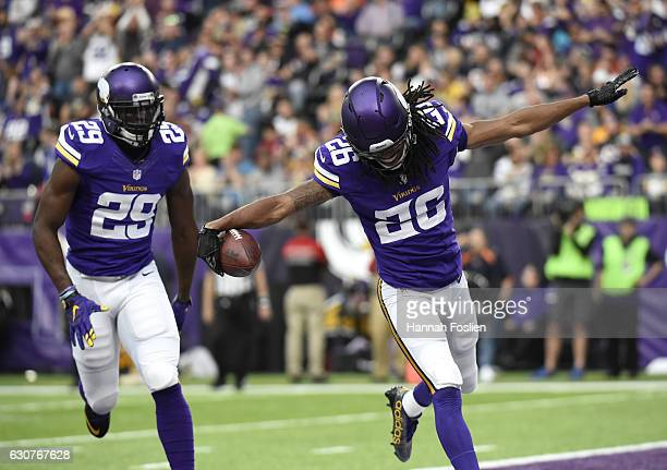 Trae Waynes of the Minnesota Vikings celebrates after intercepting the ball in the third quarter of the game against the Chicago Bears on January 1...