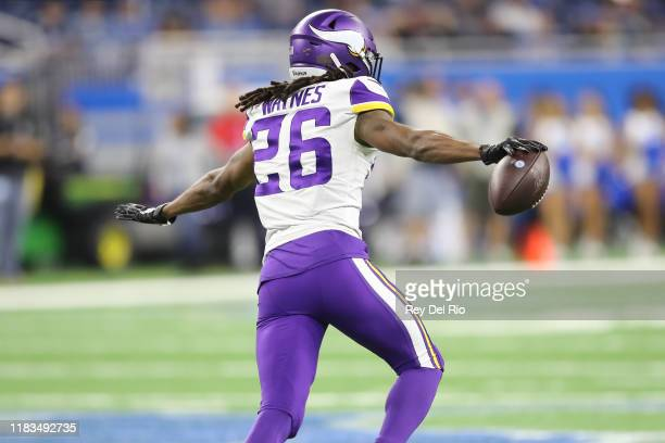 Trae Waynes of the Minnesota Vikings celebrates his interception in the fourth quarter against the Detroit Lions at Ford Field on October 20, 2019 in...