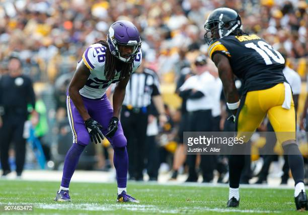 Trae Waynes of the Minnesota Vikings in action against the Pittsburgh Steelers on September 17 2017 at Heinz Field in Pittsburgh Pennsylvania
