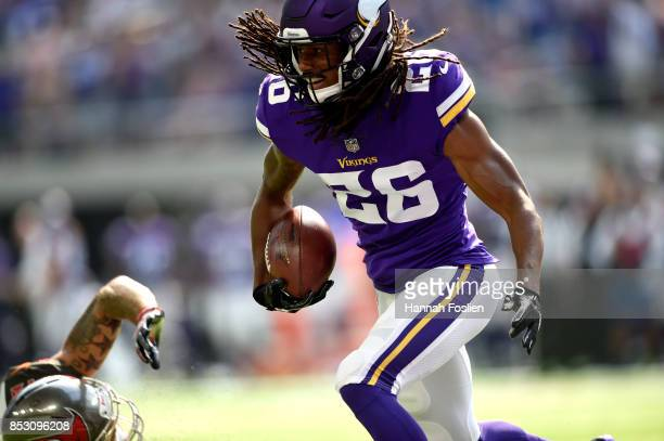 Trae Waynes of the Minnesota Vikings intercepts a pass intended for DeSean Jackson of the Tampa Bay Buccaneers in the second quarter of the game on...