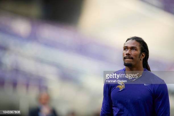 Trae Waynes of the Minnesota Vikings looks on before the game against the Buffalo Bills at U.S. Bank Stadium on September 23, 2018 in Minneapolis,...
