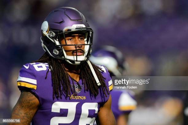 Trae Waynes of the Minnesota Vikings looks on before the game against the Baltimore Ravens on October 22, 2017 at US Bank Stadium in Minneapolis,...