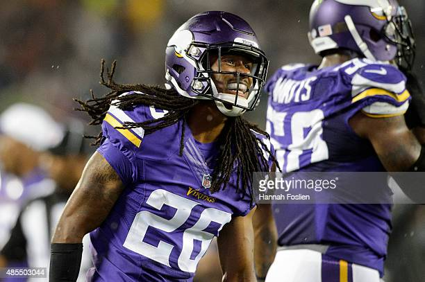 Trae Waynes of the Minnesota Vikings looks on during the preseason game against the Oakland Raiders on August 22, 2014 at TCF Bank Stadium in...