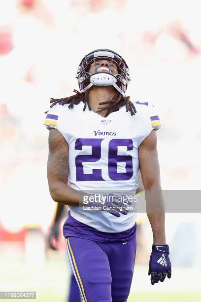 Trae Waynes of the Minnesota Vikings reacts after a play in the first quarter of the NFC Divisional Round Playoff game against the San Francisco...
