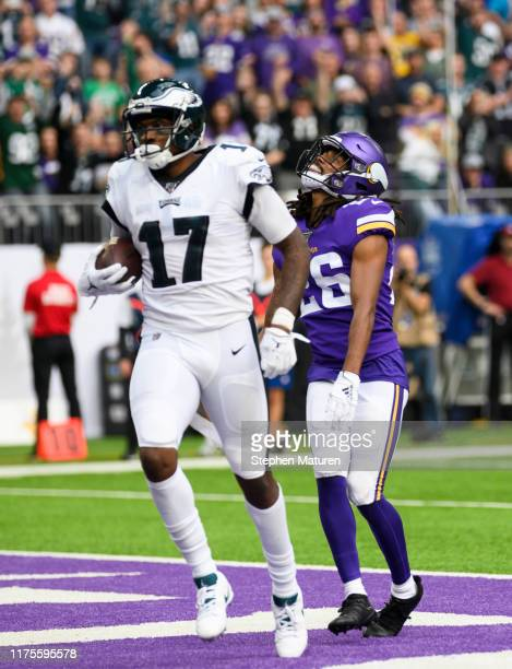 Trae Waynes of the Minnesota Vikings reacts after Alshon Jeffery of the Philadelphia Eagles scored a touchdown in the the third quarter of the game...