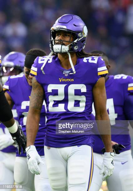 Trae Waynes of the Minnesota Vikings takes the field during player introductions before the game against the Detroit Lions at U.S. Bank Stadium on...