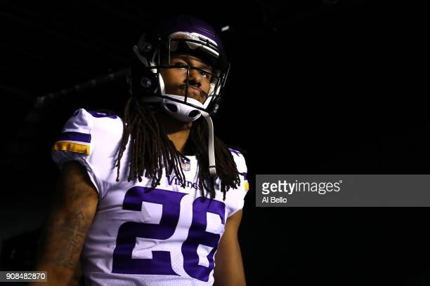 Trae Waynes of the Minnesota Vikings walks out on the field for warm ups prior to the NFC Championship game against the Philadelphia Eagles at...