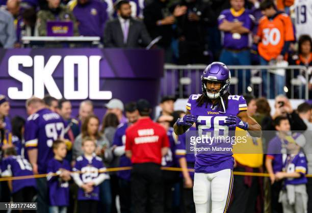 Trae Waynes of the Minnesota Vikings warms up before the game against the Denver Broncos at U.S. Bank Stadium on November 17, 2019 in Minneapolis,...