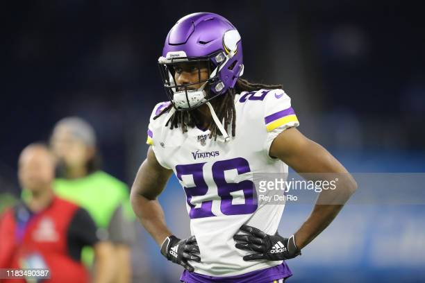 Trae Waynes of the Minnesota Vikings warms up prior to the start of the game aganist the Detroit Lions at Ford Field on October 20, 2019 in Detroit,...