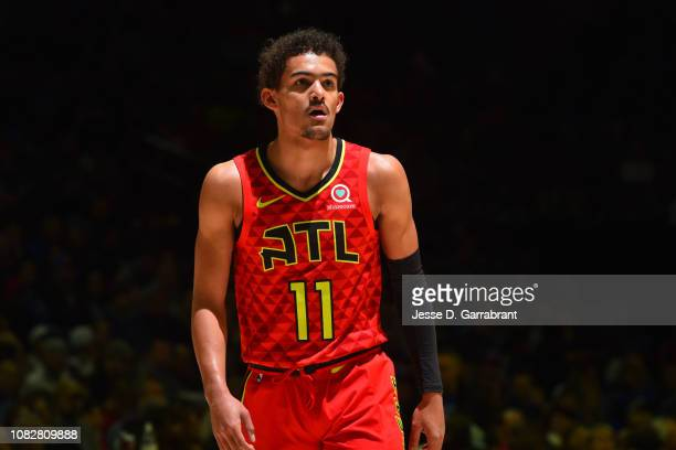 Trae Young looks on during the game against the Philadelphia 76ers on January 11 2019 at the Wells Fargo Center in Philadelphia Pennsylvania NOTE TO...