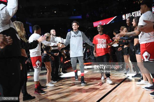 Trae Young of Team Giannis is introduced during Practice and Media Availability presented by ATT as part of 2020 NBA AllStar Weekend on February 15...