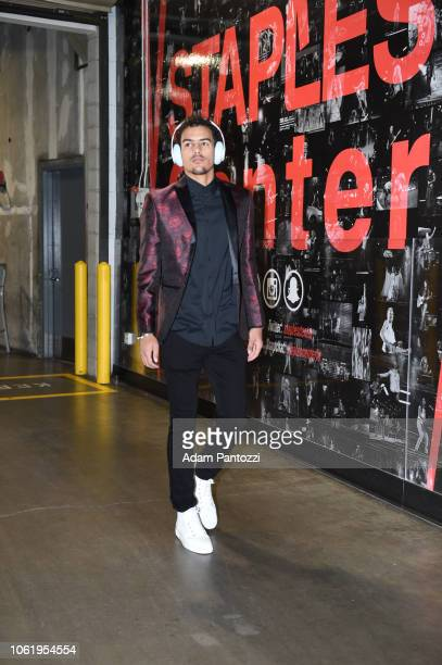 Trae Young of the Atlanta Hawks arrives at the arean before the game against the Los Angeles Lakers on November 11 2018 at Staples Center in Los...