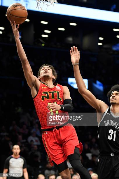 Trae Young of the Atlanta Hawks attempts a lyaup during the second quarter of the game against the Brooklyn Nets at Barclays Center on January 9 2019...