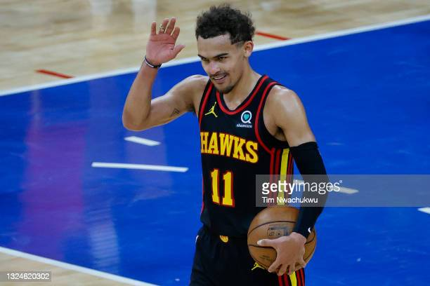 Trae Young of the Atlanta Hawks celebrates after defeating the Philadelphia 76ers during Game Seven of the Eastern Conference Semifinals at Wells...