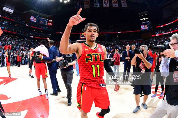 Trae Young of the Atlanta Hawks celebrates after the game against the Milwaukee Bucks on March 31, 2019 at State Farm Arena in Atlanta, Georgia. NOTE...