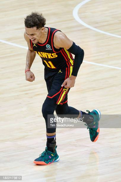 Trae Young of the Atlanta Hawks celebrates during the second quarter against the Philadelphia 76ers during Game One of the Eastern Conference second...