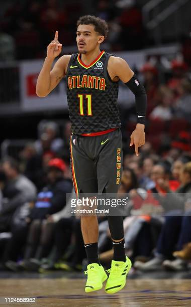 Trae Young of the Atlanta Hawks celebrates hitting a three point shot against the Chicago Bulls at the United Center on January 23 2019 in Chicago...