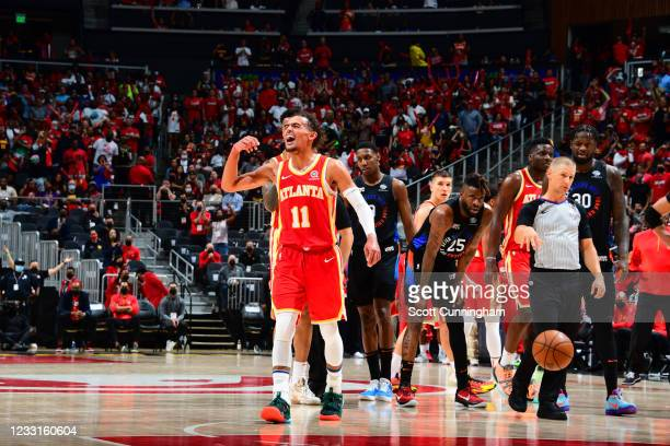 Trae Young of the Atlanta Hawks cheers during the game against the New York Knicks during Round 1, Game 3 of the 2021 NBA Playoffs on May 28, 2021 at...