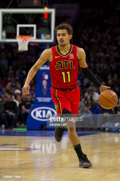 Trae Young of the Atlanta Hawks dribbles the ball against the against the Philadelphia 76ers at the Wells Fargo Center on January 11 2019 in...
