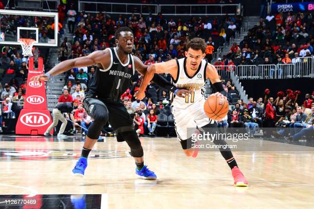 Trae Young of the Atlanta Hawks drives past Reggie Jackson of the Detroit Pistons on February 22 2019 at State Farm Arena in Atlanta Georgia NOTE TO...
