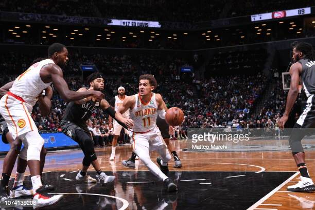 Trae Young of the Atlanta Hawks drives to the basket against the Brooklyn Nets on December 16 2018 at Barclays Center in Brooklyn New York NOTE TO...